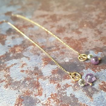 Solid Gold & Amethyst threader earrings