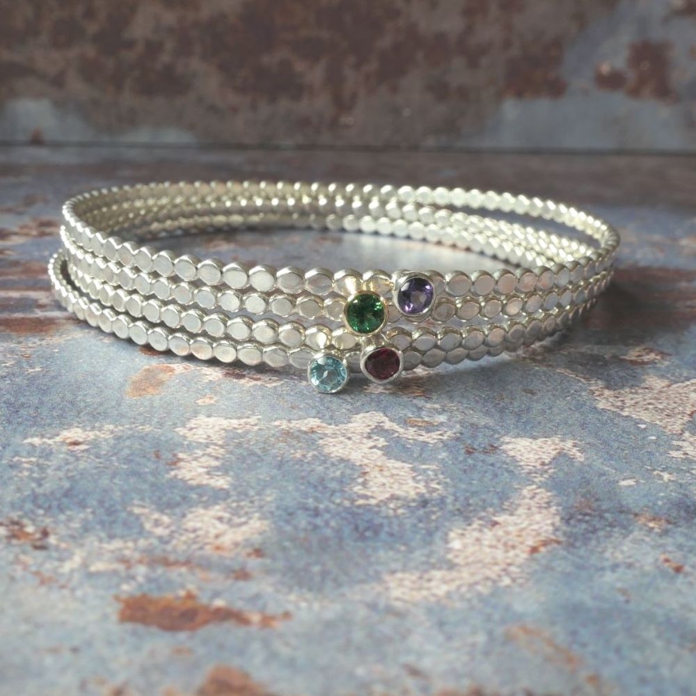 Pebble Swarovski Topaz bangle