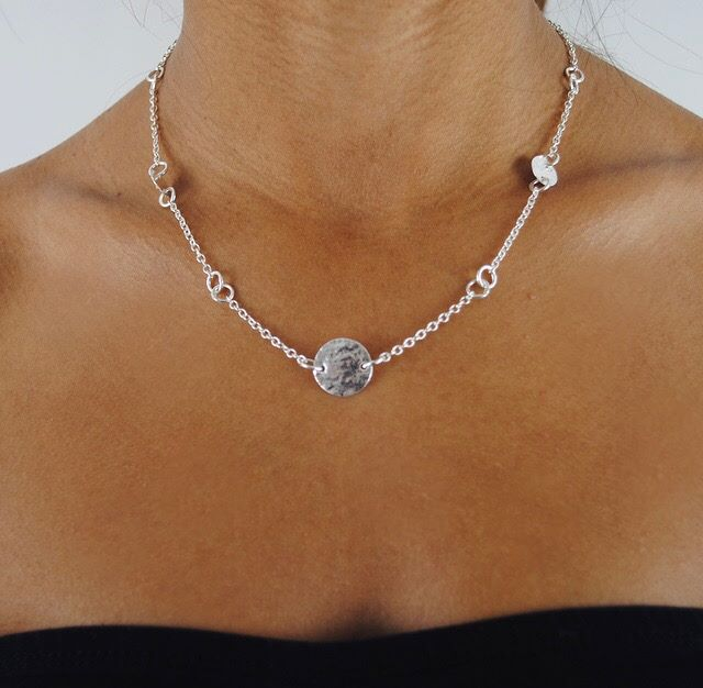 Elska Silver Multi Disc Chain Necklace.