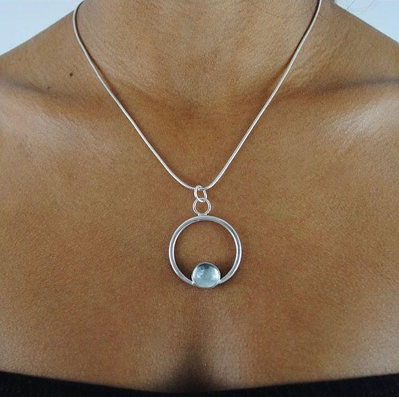 Astrid Silver Pendant with Aquamarine Cabochon