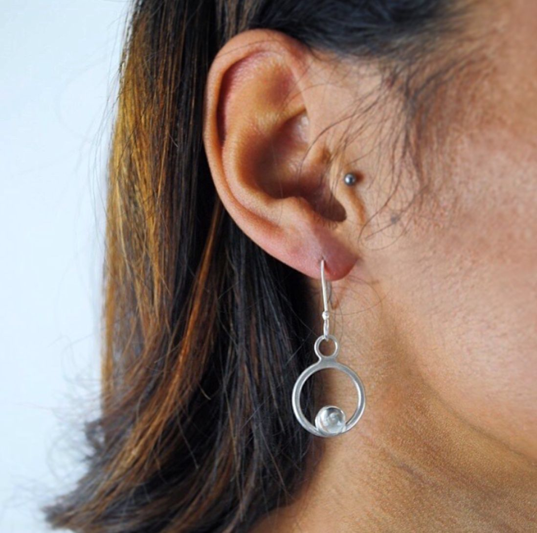 ASTRID SILVER DROP EARRINGS WITH AQUAMARINE CABOCHON