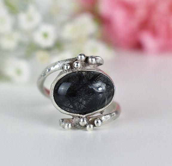 black tourmalinated quartz ring