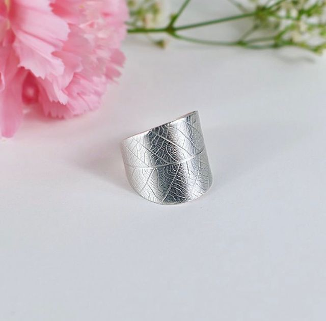 100% recycled sterling silver leaf wrap ring The Sylverling Workshop