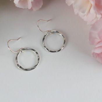 Torunn Hammered Drop Hoop Earrings