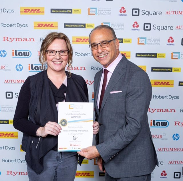 Receiving an SBS Award Certificate from Theo Paphitis -The Sylverling Workshop