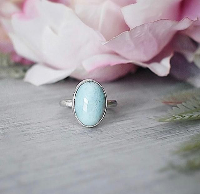 Recycled Silver Larimar stone ring Handcrafted by The Sylverling Workshop