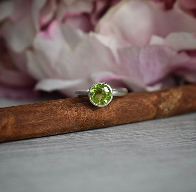 Recycled silver Peridot ring handcrafted by The Sylverling Workshop