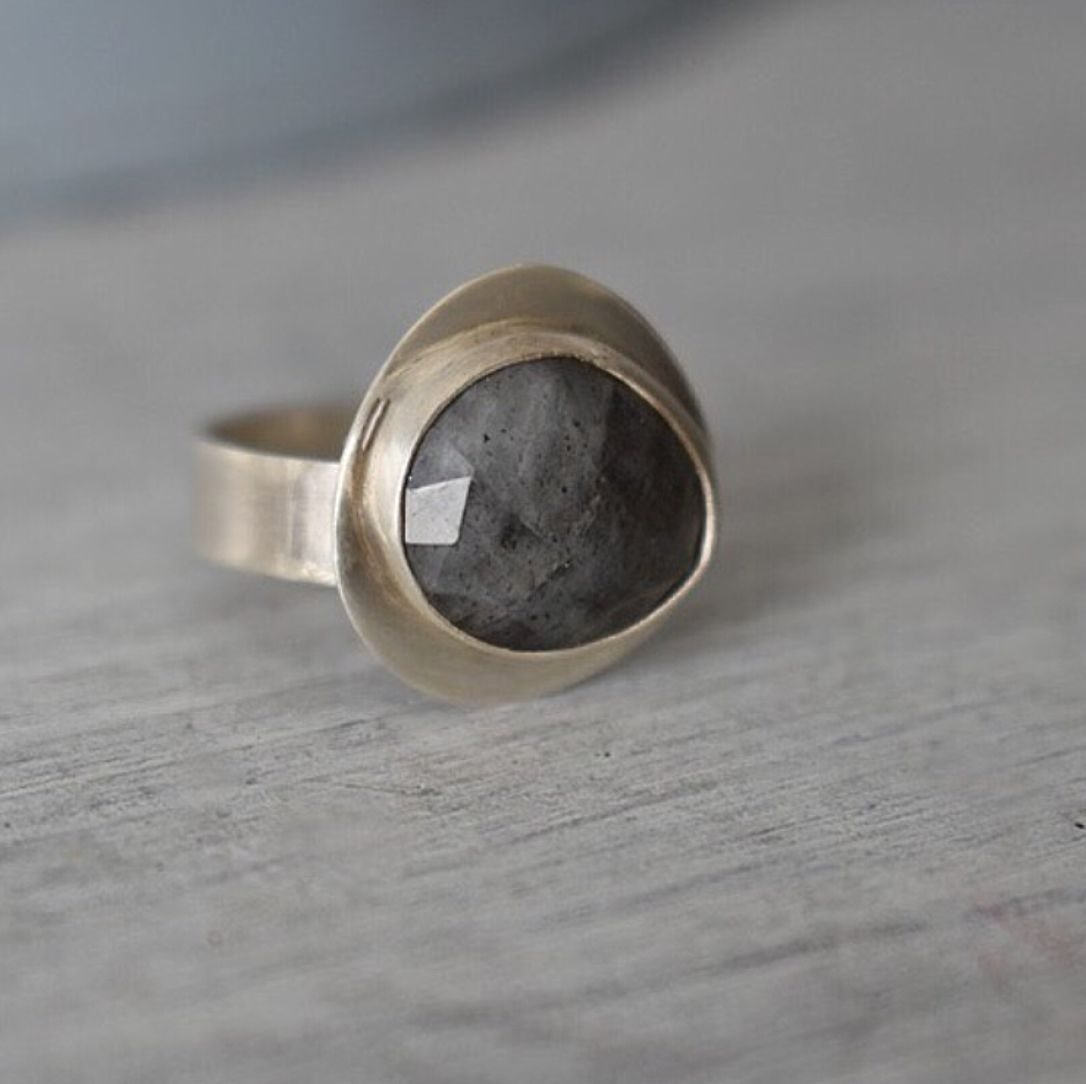 Freeform Checkerboard Labradorite Ring. Ecosilver and Fine Silver. Handcraf