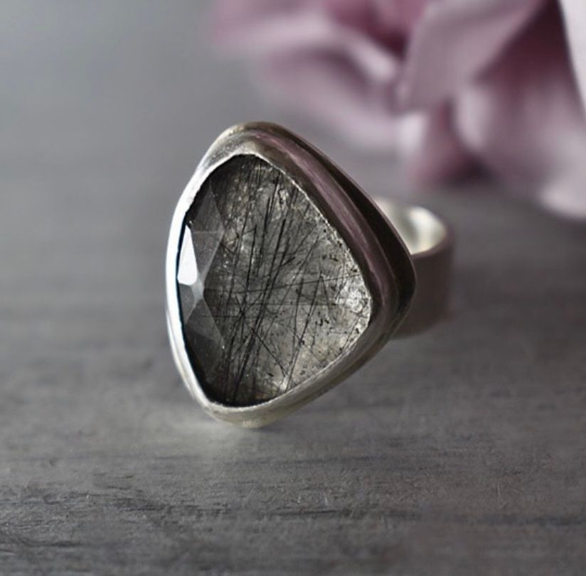 Checkerboard Freeform Tourmalinated Quartz Ring. Ecosilver and fine silver.