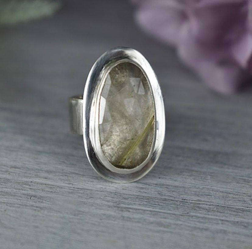 Checkerboard Freeform Rutilated Quartz Ring. Ecosilver and fine silver. Han
