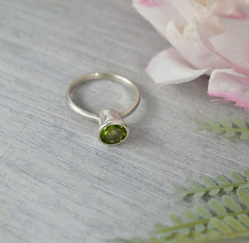 Peridot Ring. Ecosilver and fine silver. Handcrafted by The Sylverling Work