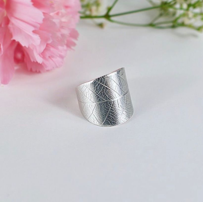 Ecosilver Leaf ring handcrafted by The Sylverling Workshop