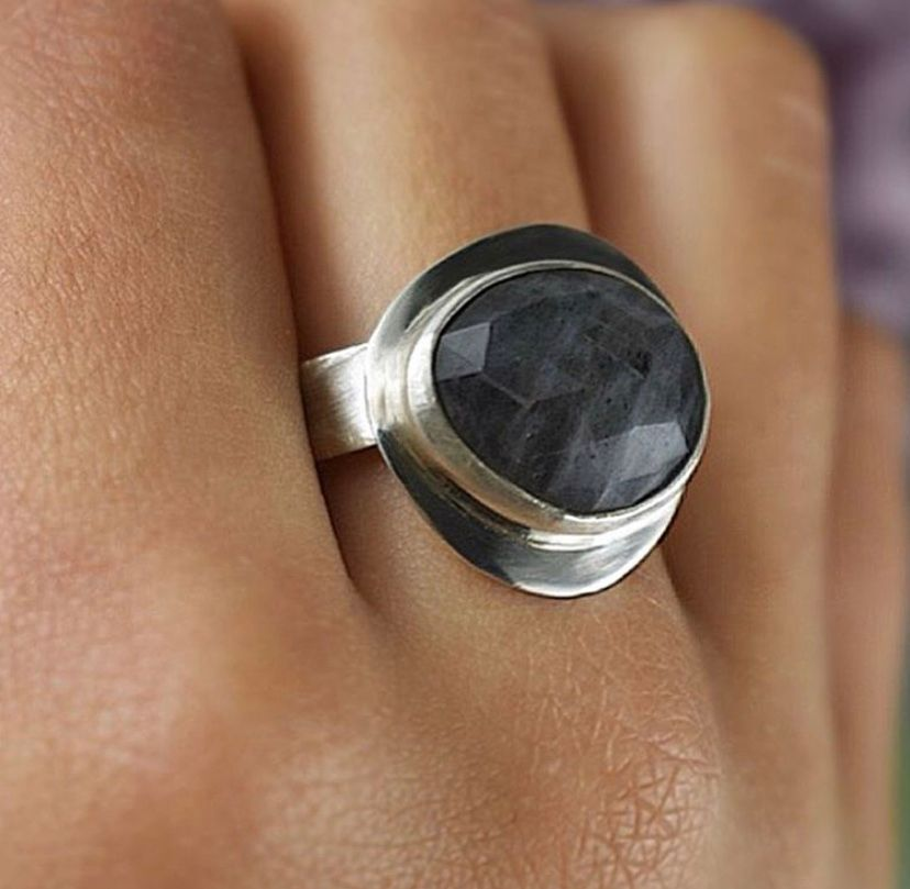 Freeform Checkerboard Labradorite Ring. Ecosilver and Fine Silver. Handcrafted by The Sylverling Workshop 2.jpg