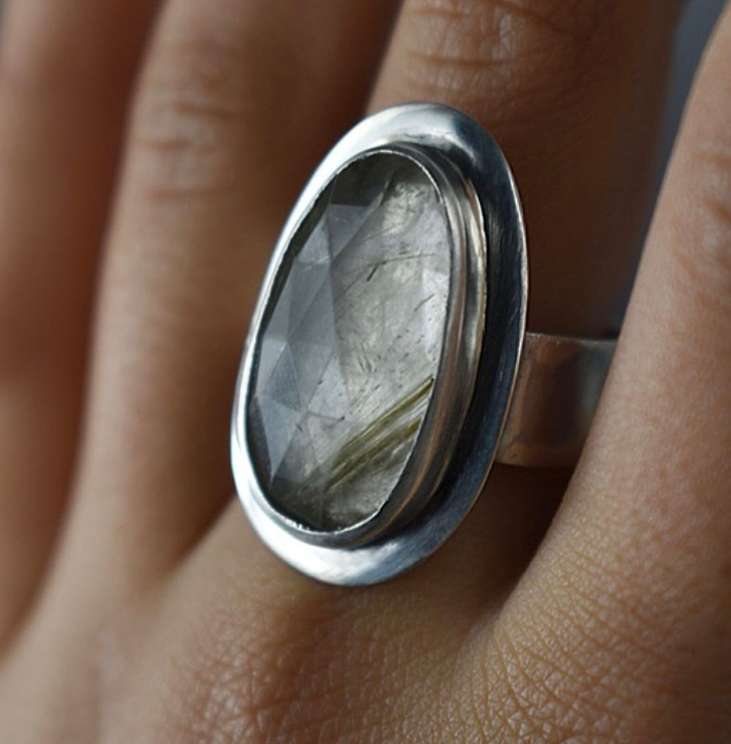 Checkerboard Freeform Rutilated Quartz Ring. Ecosilver and fine silver. Handcrafted by The Sylverling Workshop 1.jpg