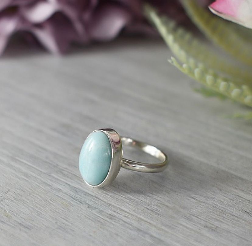 Larimar Stone Recycled Silver Ring Handcrafted by The Sylverling Workshop 2.jpg