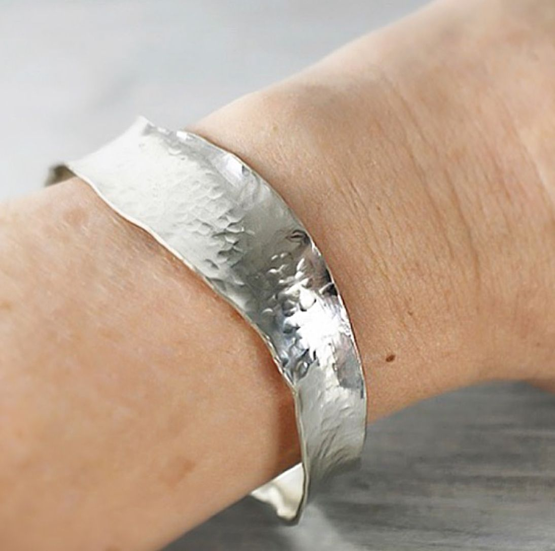 Hammered wavy bangle handcrafted from Ecosilver by The Sylverling Workshop