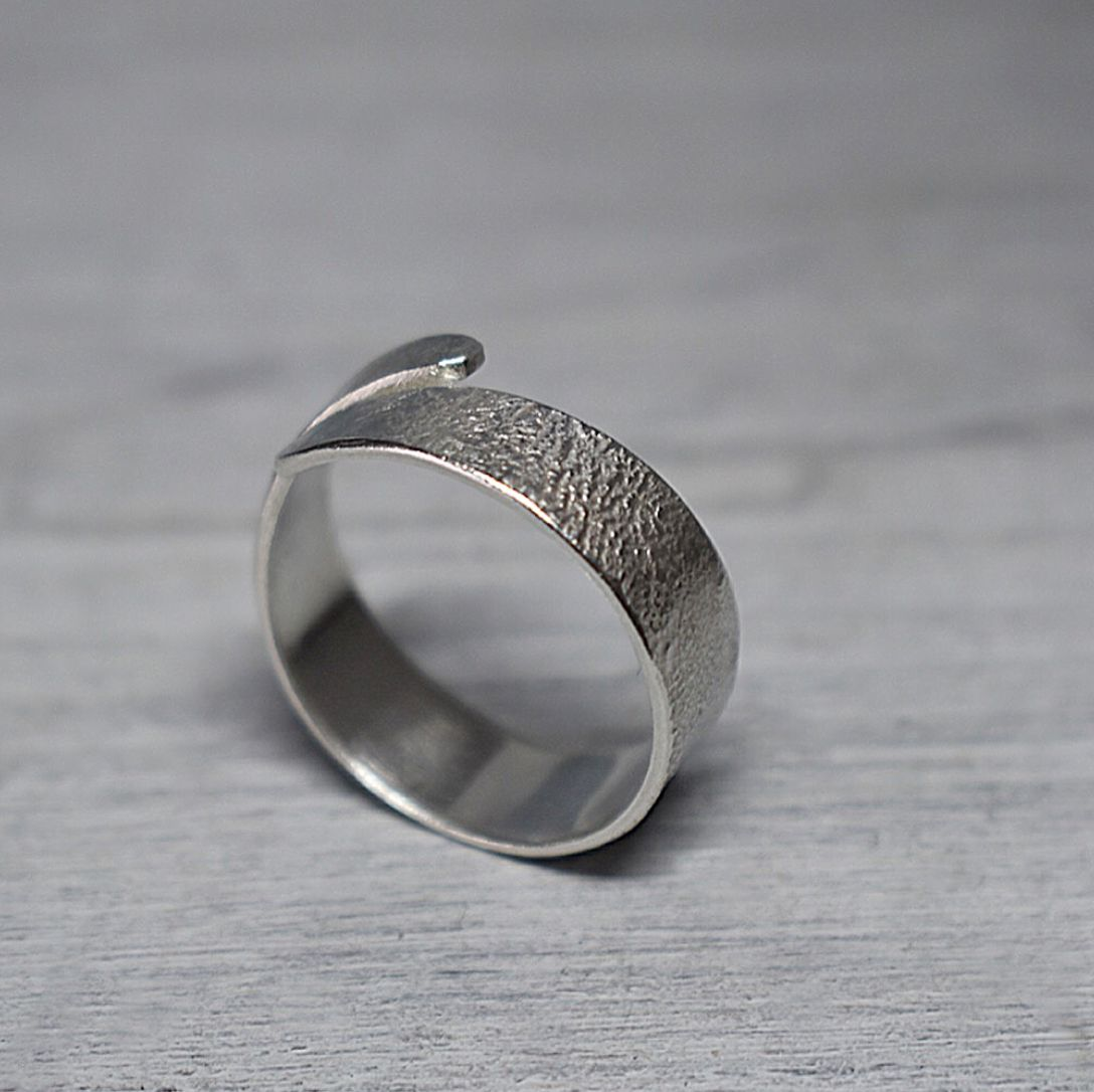 Reticulated recycled Sterling silver adjustable ring handcrafted by The Syl