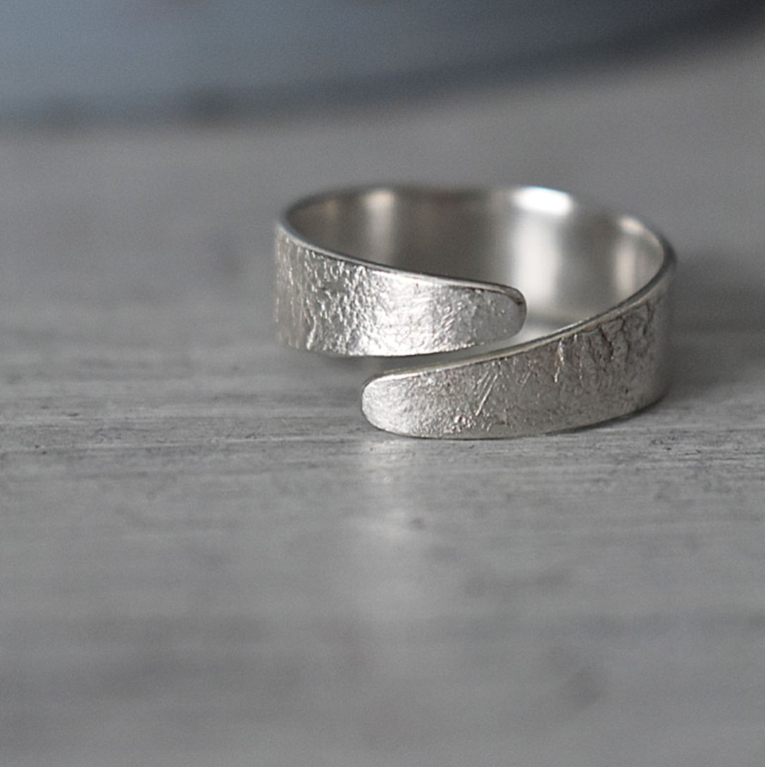 Reticulated recycled Sterling silver adjustable ring handcrafted by The Sylverling Workshop 1.jpg