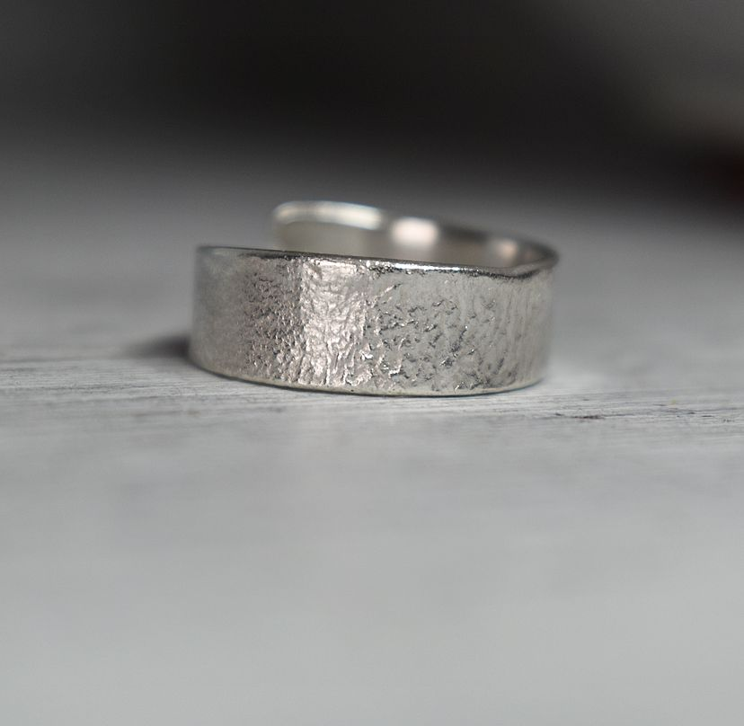 Reticulated recycled Sterling silver adjustable ring handcrafted by The Sylverling Workshop 2.jpg