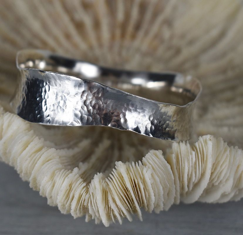 Ecosilver Hammered Wave Bangle by The Sylverling Workshop