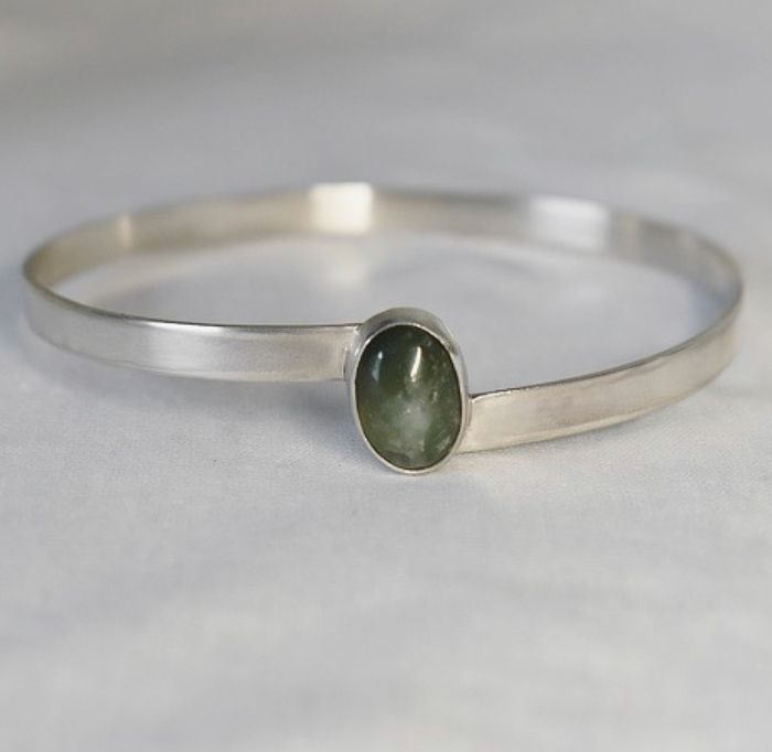 Green Moss Agate bangle handcrafted from Ecosilver by The Sylverling Worksh
