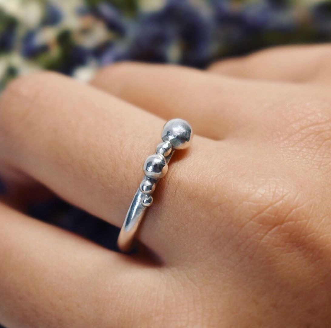 Handmade To Order Ecosilver Bubble Stacking Ring