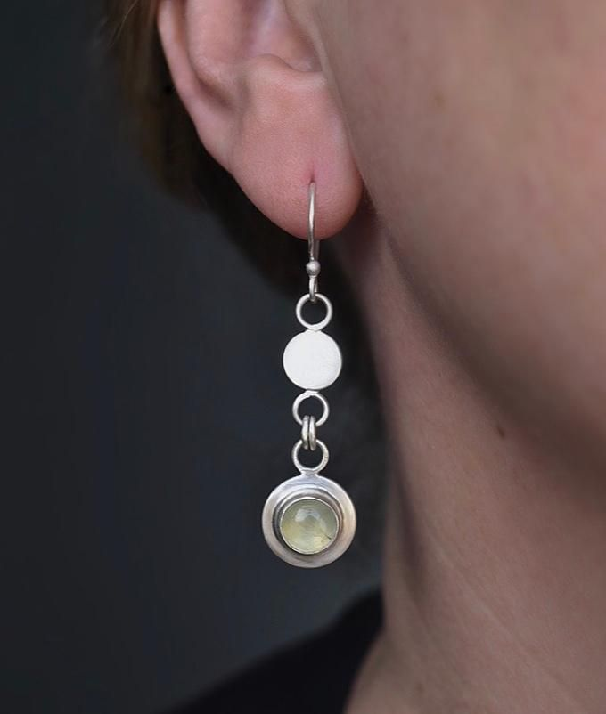 Gersemi collection Prehnite Earrings handcrafted by The Sylverling Workshop