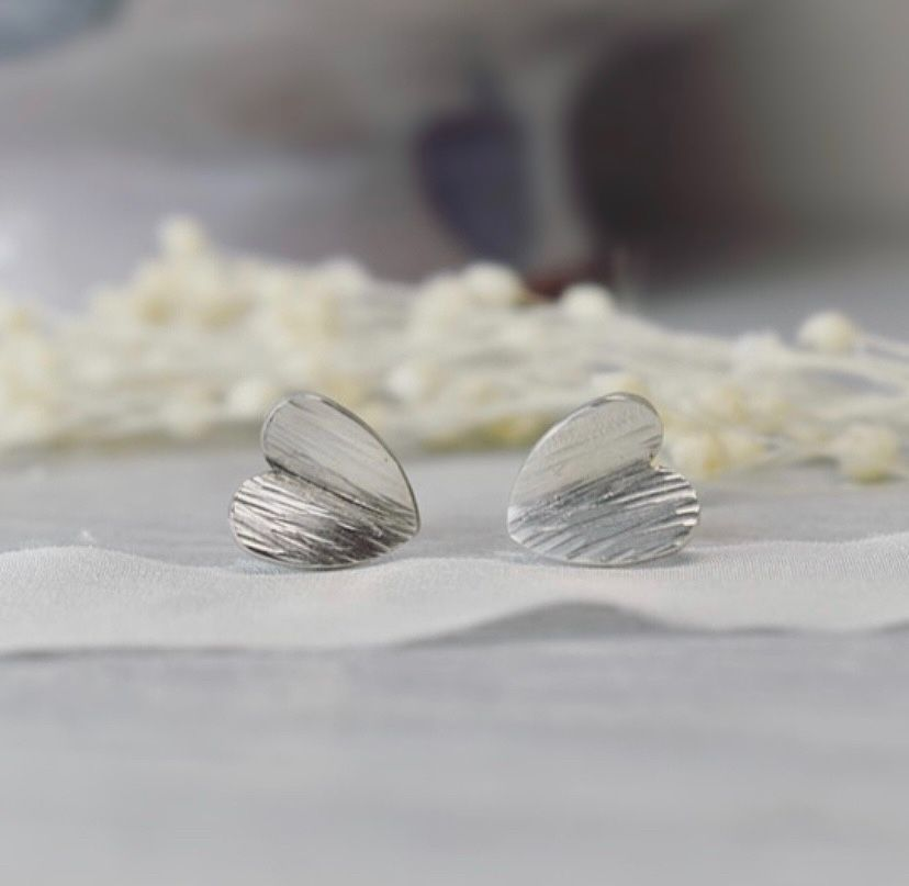 Argentium Silver Bark textured heart studs handmade by The Sylevrling Works