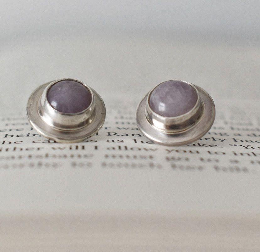 Argentium Silver Gersemi Lavender Amethyst Stud Earrings