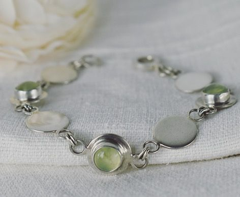 Gersemi Prehnite Ecosilver Bracelet handcrafted by The Sylverling Workshop