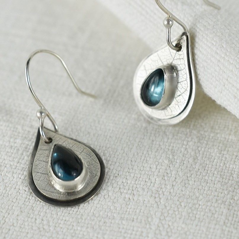 Woodland Dew Drop Ecosilver Earrings handmade by The Sylverling Workshop 5