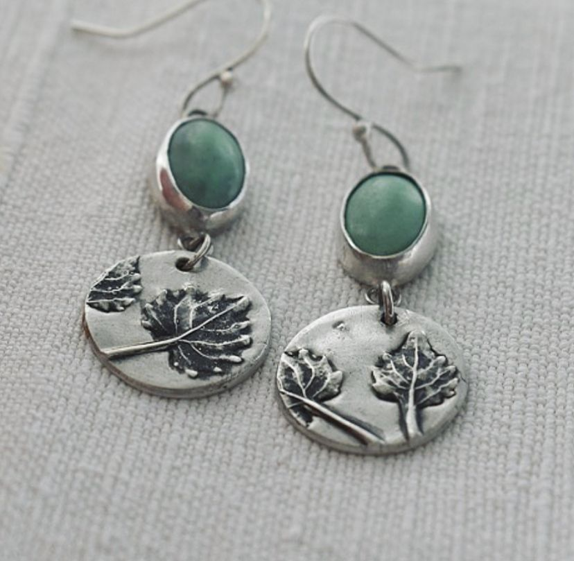 Woodland Recycled Silver Drop Earrings handmade by The Sylverling Workshop