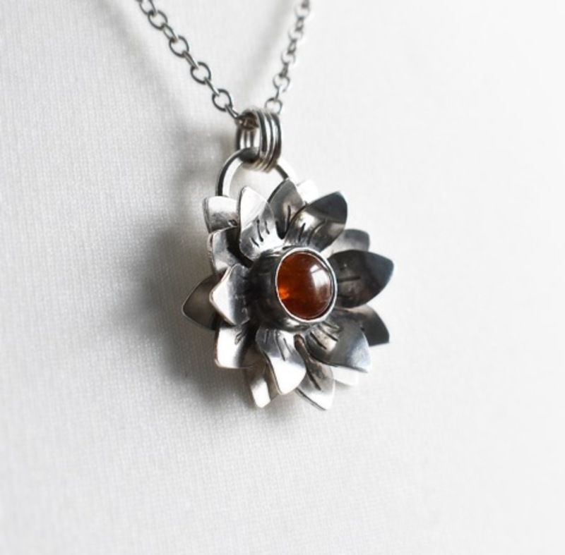 Woodland Flower Necklace with Hessonite Garnet handmade by The Sylverling W