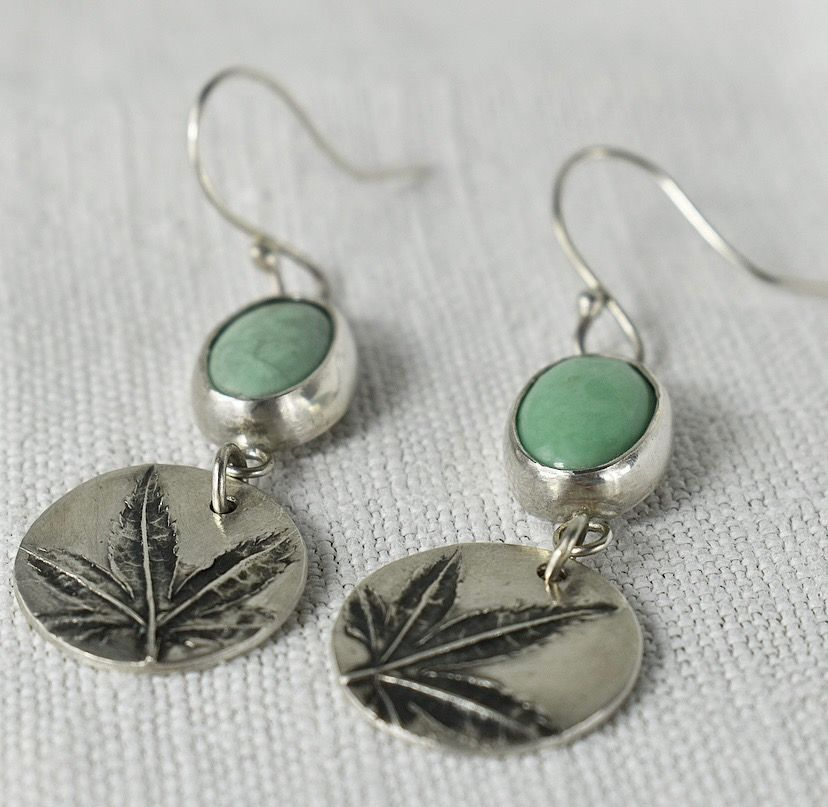 Woodland Recycled Silver Leaf and Variscite Gemstone Earrings 1