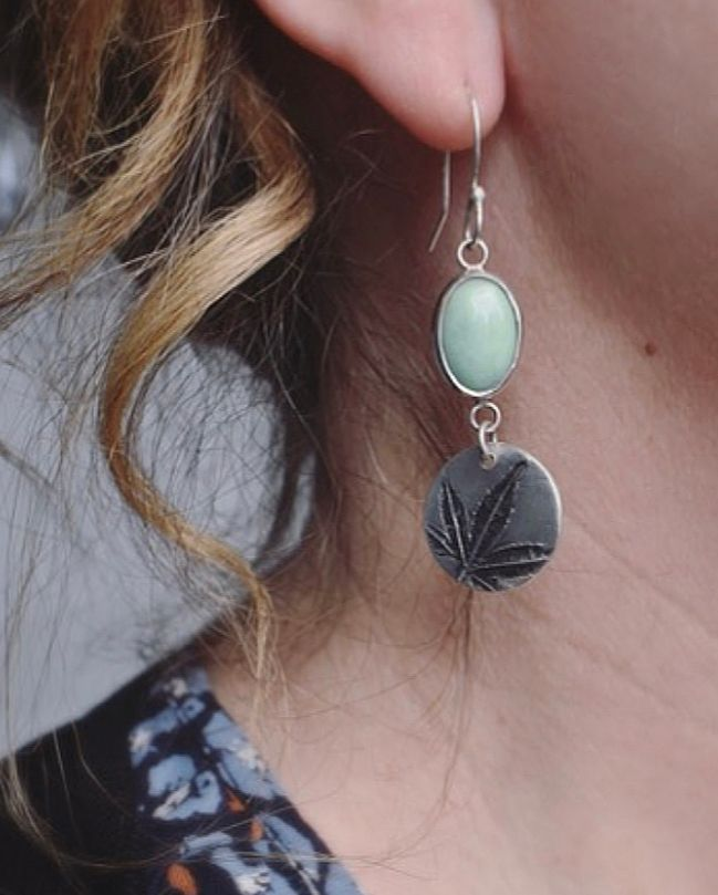 Woodland Recycled Silver Leaf and Variscite Gemstone Earrings 5