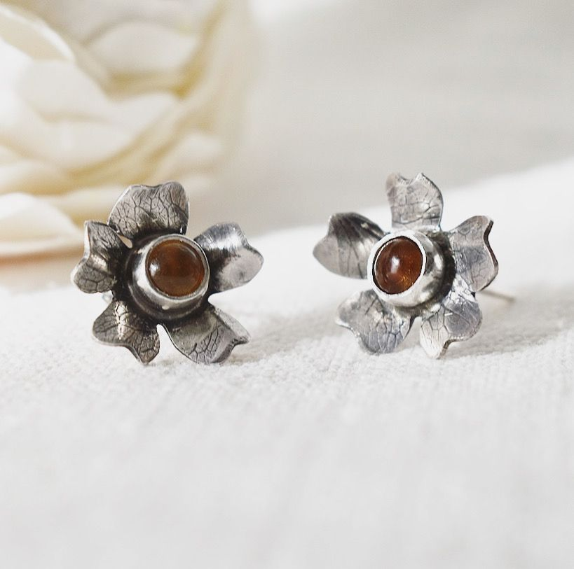 Woodland Flower recycled silver Citrine studs by The Sylverling Workshop 1.jpg