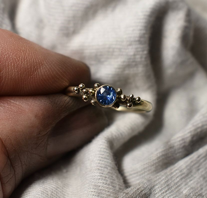 handmade recycled gold blue sapphire ring handmade by The Sylverling Workshop.jpg