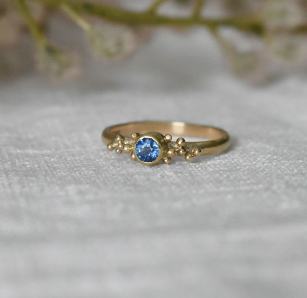 Recycled 9ct Gold With Pale Blue Pailin Sapphire UK size N