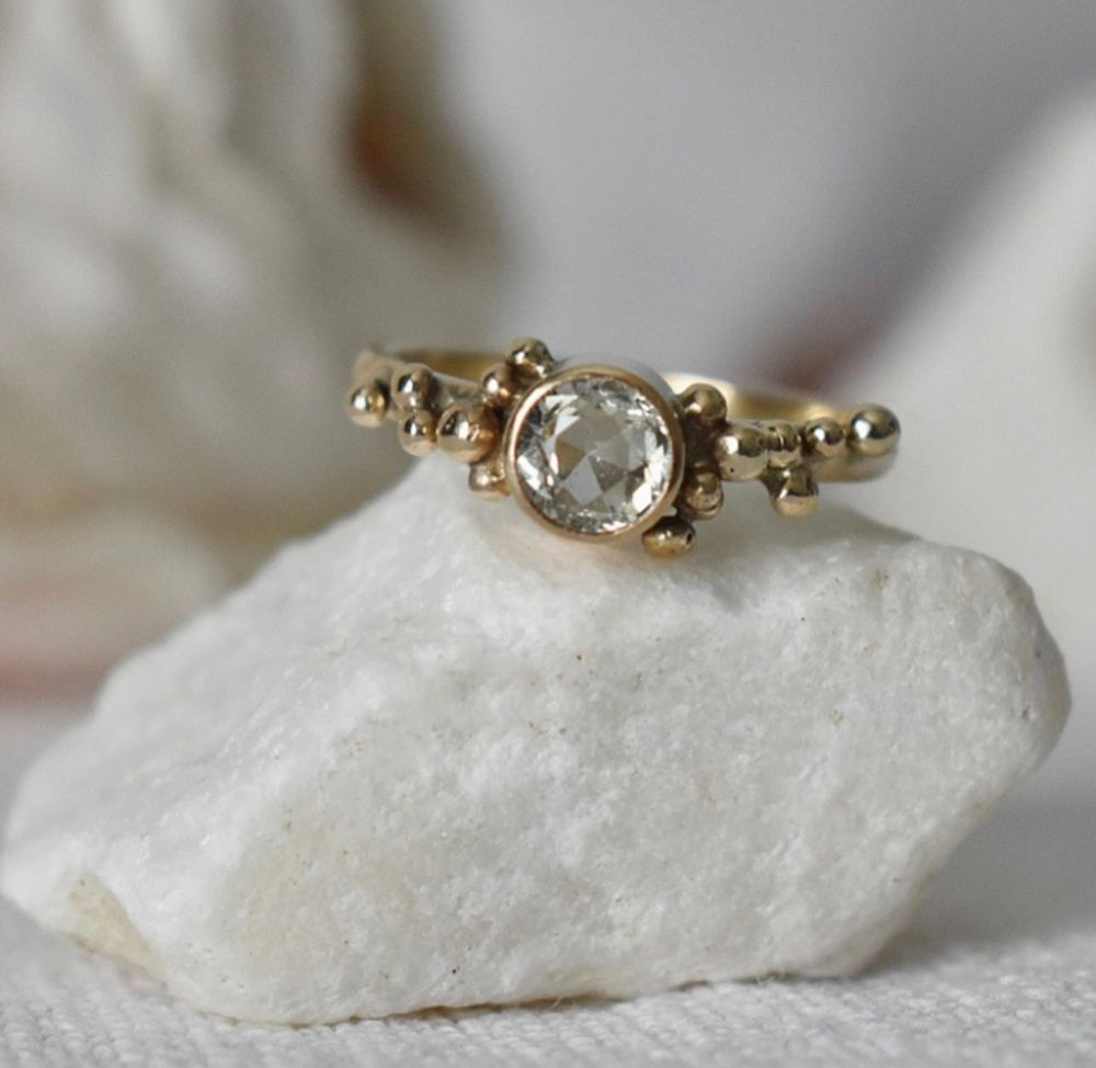 Recycled 9ct Gold With Granulation And Green Sapphire UK size M TO M 1/2