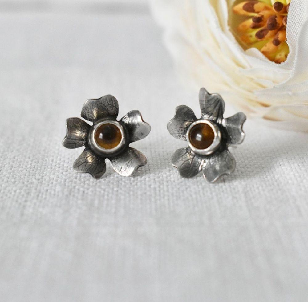 Woodland Flower Stud Earrings with Citrine