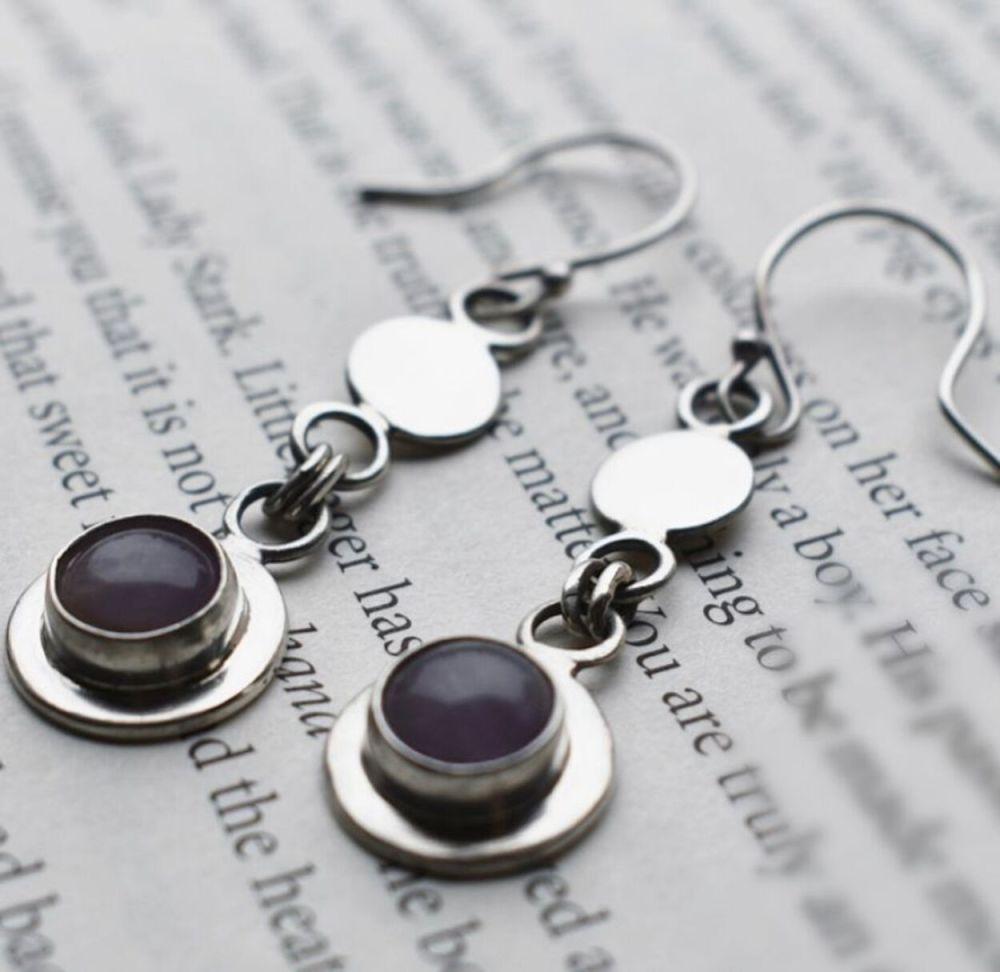 Gersemi Lavender Amethyst Link Drop Earrings- Handmade to Order
