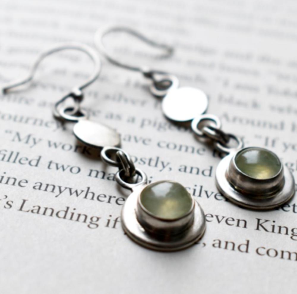 Gersemi Prehnite Link Drop Earrings-Handmade To Order