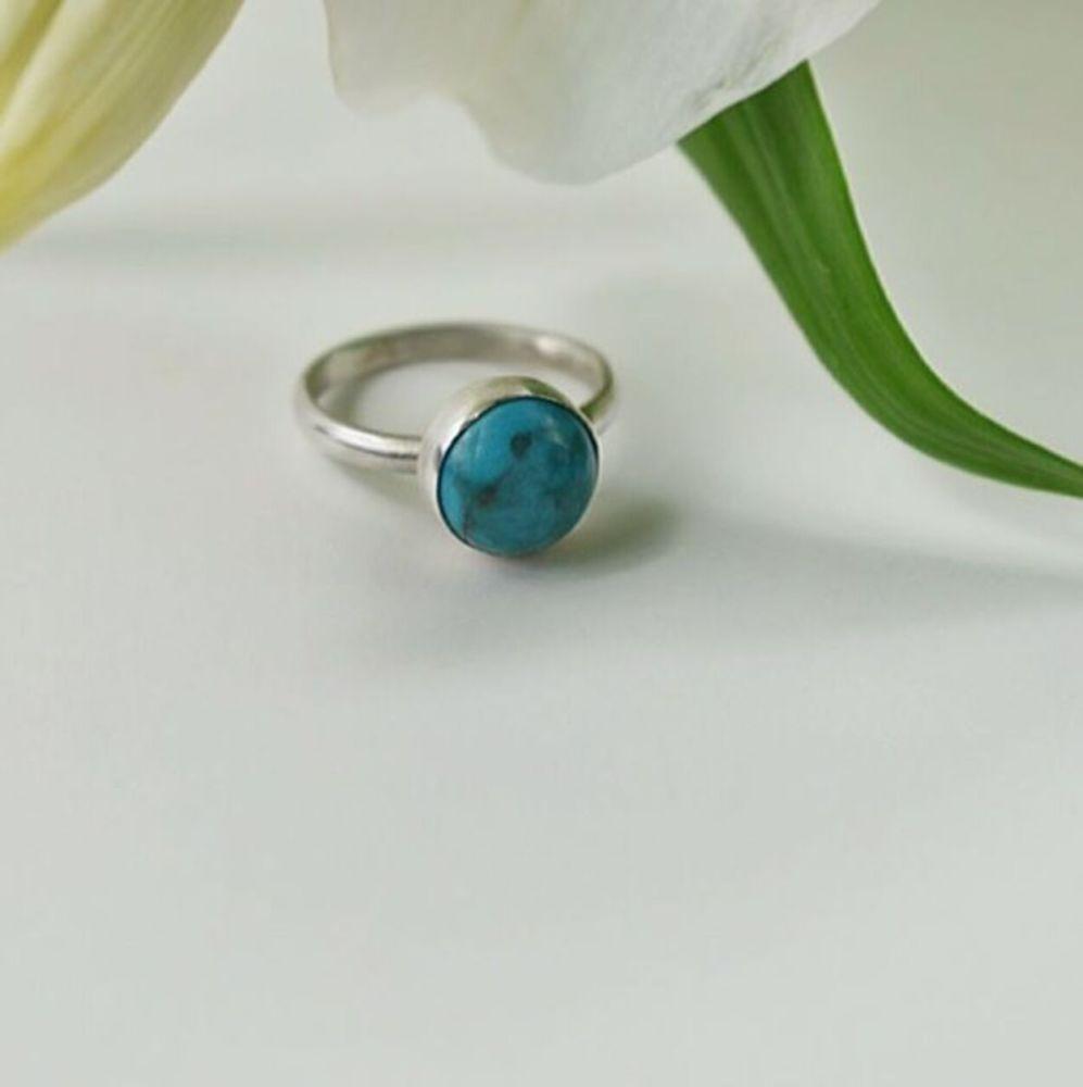 Chinese Turquoise Matrix Ring UK Size N (54 Europe) (6 3/4 US)