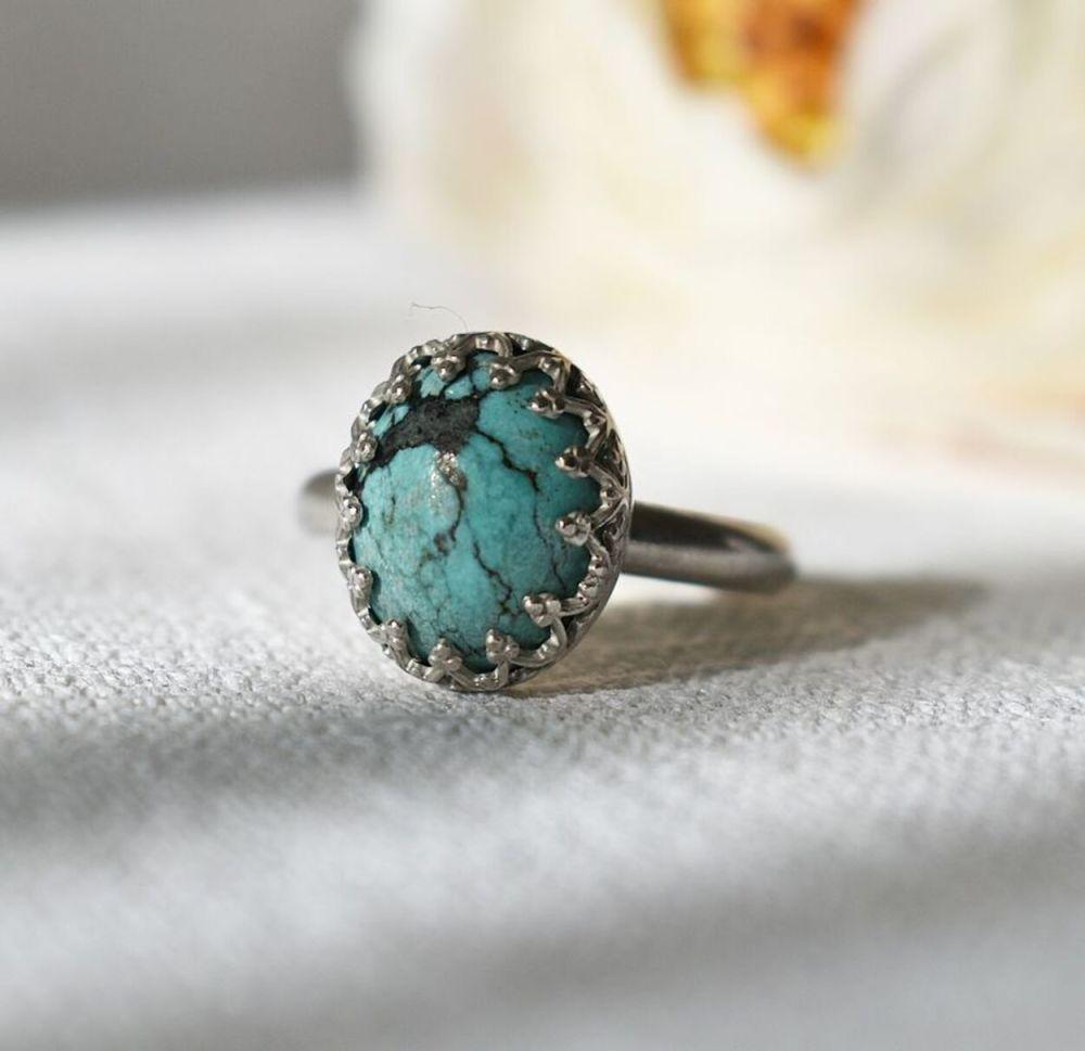 Ecosilver Turquoise ring UK size M