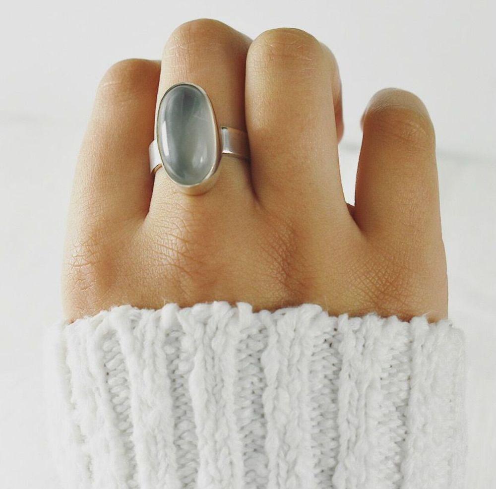 White Moonstone Ecosilver Ring UK size M (53 EUROPE) (6 1/4 US)