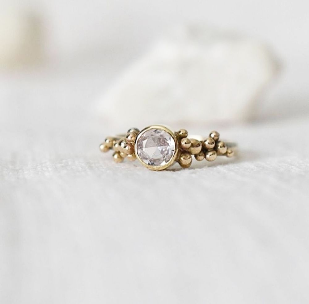 Recycled 9ct Gold With Pale Pink Sapphire UK size M