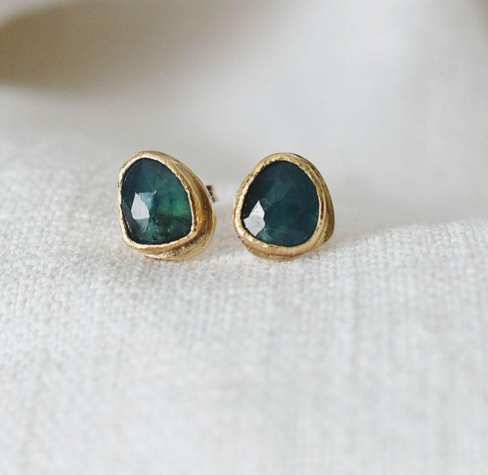 For Tonia- Gold and Grandidierite Stud Earrings