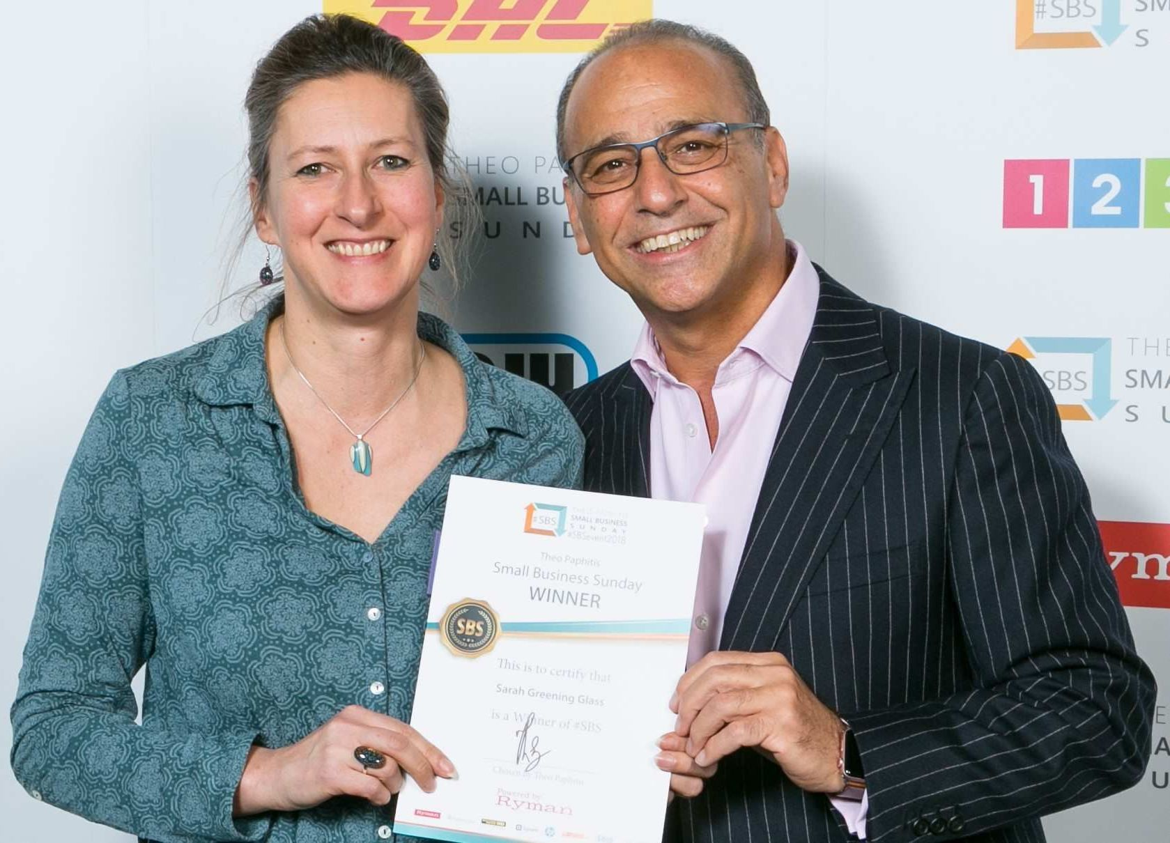 Photo with Theo Paphitis from BBC's Dragon's Den after he gave me a small business award in 2017