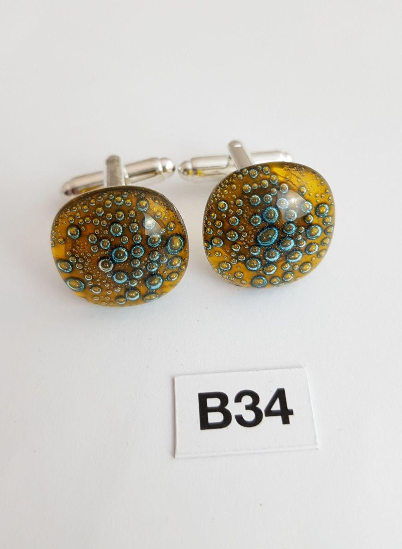 Amber yellow bubbles cufflinks