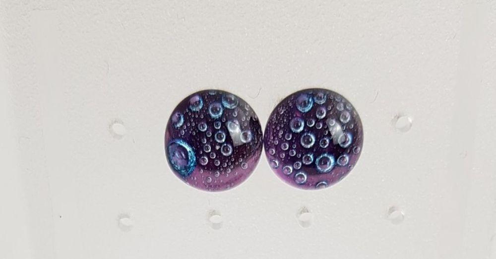 Purple bubbles stud earrings